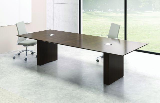 Flow Table | G25 Natural Walnut Veneer Rectangle Top | Rectangle Veneer Base | Small Power Matrix
