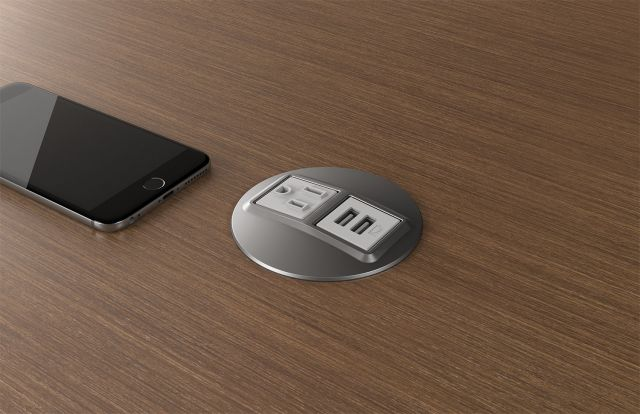 Power Dot   Simplex and Dual USB   Satin Nickel