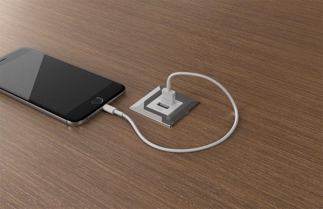 USB Spec   White   Square   M27 Walnut Linea