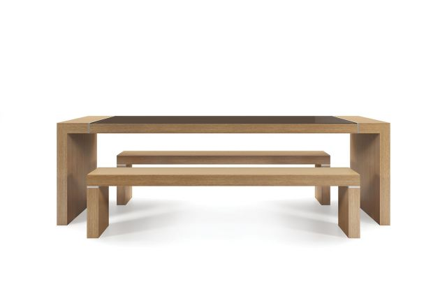 Tesano | Community Table | 30 Inch Seated Height | Oak Linea  FInish | Clove Gloss Back Painted Glass | Clear Anodized aluminum
