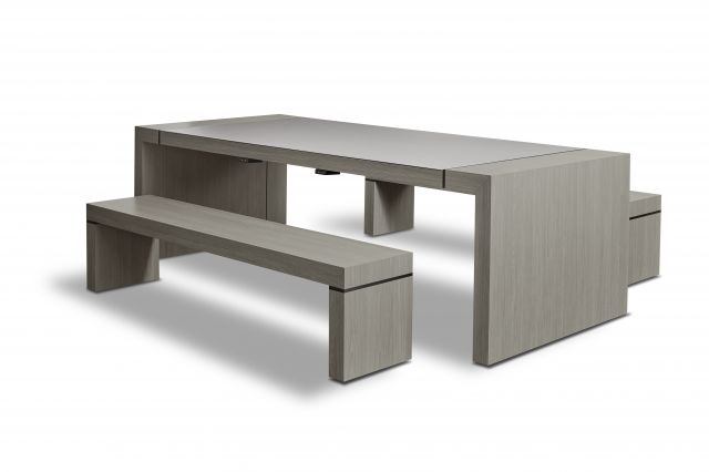 Tesano | Community Table | Custom | Weathered Ash Laminate | Seated Height Table | Whitesweep