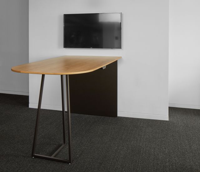Two4Six | Media Table | Custom D-Shaped 72X42 Planked Urban on Oak Veneer | Aged Bronze Base
