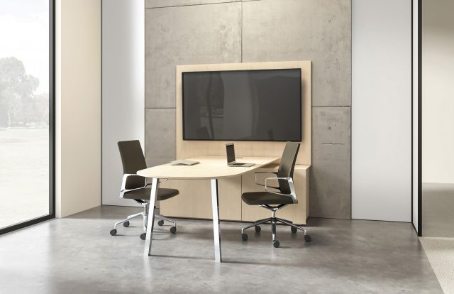 Two4Six | Media Table | D-Shaped Veneer Top | Seated Height | Polished Chrome Legs