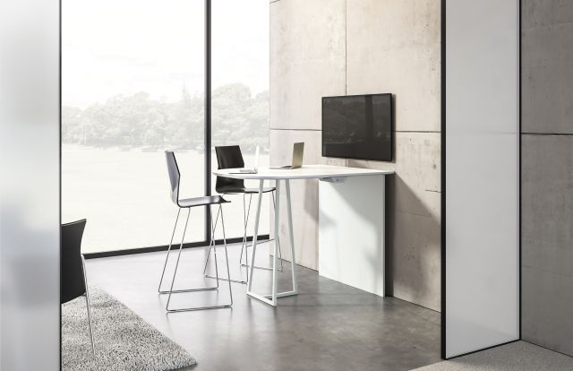 Two4Six | Media Table | D-Shaped Laminate Top | Standing Height