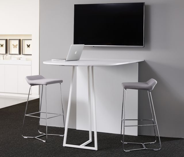 Two4Six | Media Table | D-Shaped Laminate | Cloud Powdercoat Open Frame Base | Standing Height