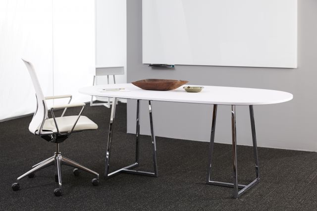 Two4Six | Meeting Table |Soft Rectangle Brite White Laminate | Polished Chrome Base