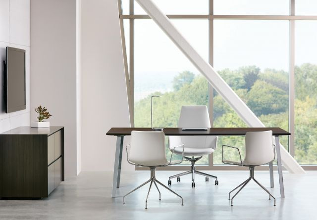 Two4Six | Meeting Table | Veneer Top | Polished Chrome Post Legs | 3 Chairs