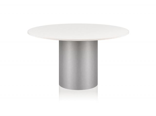 Two 4 Six | Meeting Table | Round Laminate Top | Foil Paint to Match Powdercoat Painted Cylinder Base