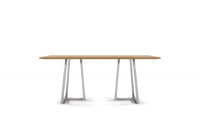 Two 4 Six | Meeting Table | Rectangle Paldao Veneer | Polished Metal Open Frame Base