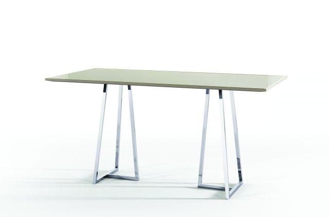 Two 4 Six | Rectangle Glass Top | Polished Metal Open Frame Base
