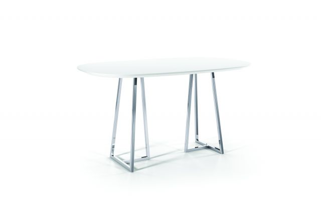Two 4 Six | Laminate | Soft Rectangle Top | Polished Chrome Open Frame Base | Standing Height
