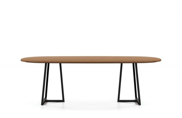 Two4Six | Meeting Table | Soft Rectangle M27 Walnut Linea Veneer Top | Black Powdercoat Open Frame Base