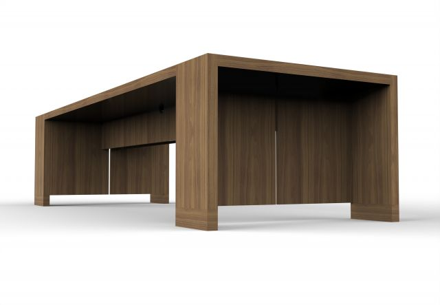 Preston | Community Table | Walnut Veneer | Base Detail