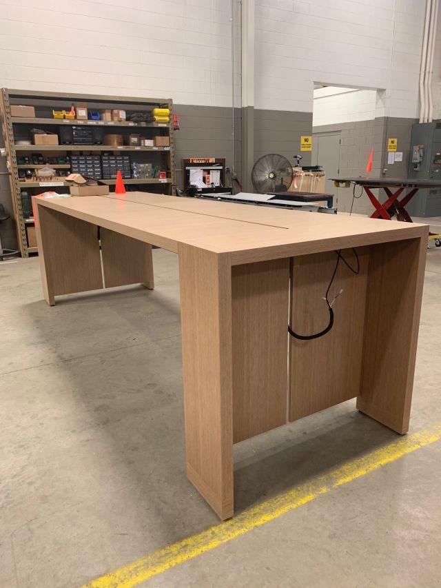 Preston   Community Table   Oak Linea Veneer   Nucraft Manufacturing Floor