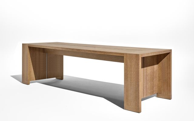 Preston   Community Table   Flaky Oak   Standing Height Table