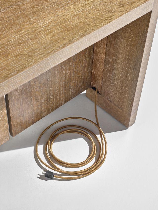 Preston | Community Table | Flaky Oak | Wire Management
