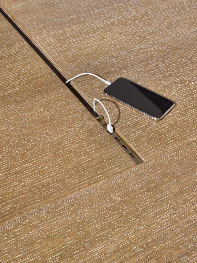 Preston | Community Table | Flaky Oak | Sliding USB