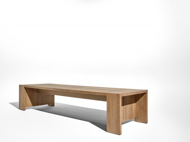 Preston | Community Table | Flaky Oak | Angled View
