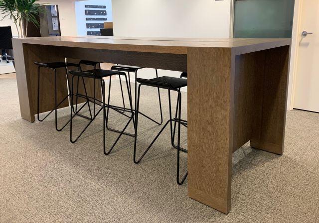 Preston | Standing Height Table | Flaky Oak Veneer | Nucraft Headquarters