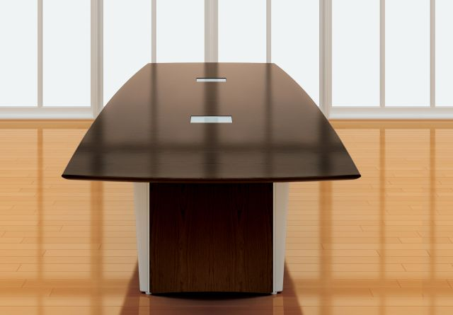 Saber | Conference Table | Boat Shape G25 Natural Walnut Veneer | Veneer and Foil Powdercoat Panel Bases