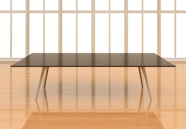 Saber   Conference Table   Rectangle Shaped Natural Walnut Veneer Top   Foil Powdercoat Metal Legs