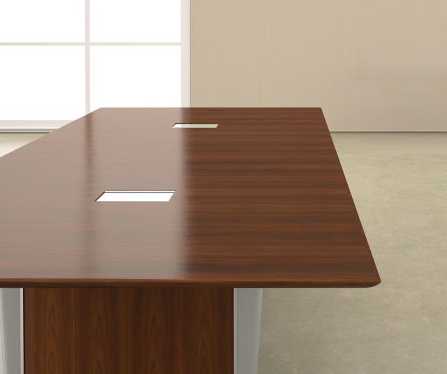 Saber | Conference Table | Rectangle G25 Natural Walnut Veneer | Panel Base | Power Matrix
