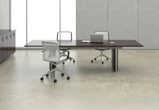 Saber | Conference Table | Rectangle Shaped Natural Walnut Veneer Top |  Panel Veneer Base