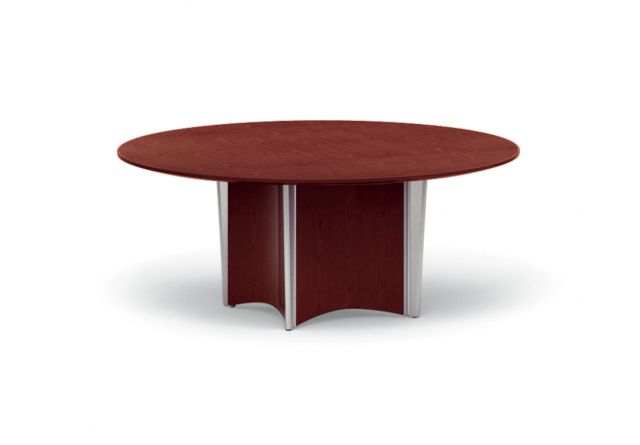 Saber | Conference Table | Round Veneer Top | Concave Column Base