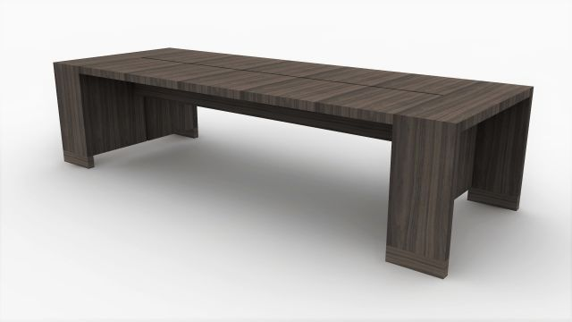 Preston | Community Table | Walnut Veneer | Seated Height | Rendering