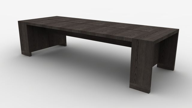 Preston | Community Table | Black Ash Veneer | Seated Height | Rendering