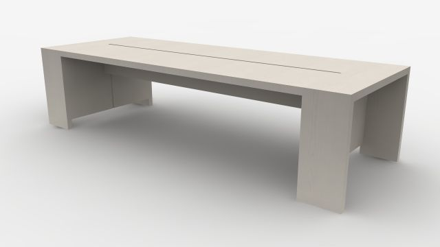 Preston | Community Table | Blanco Ash Veneer | Seated Height | Rendering