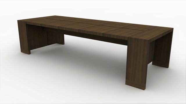 Preston | Community Table | Marron Walnut Veneer | Seated Height | Rendering