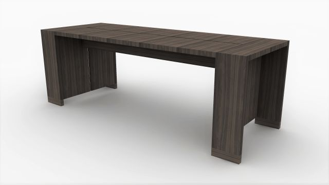 Preston | Community Table | Walnut Veneer | Standing Height | Rendering