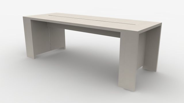 Preston | Community Table | Blanco Ash Veneer | Standing Height | Rendering