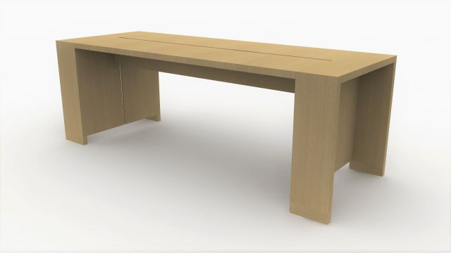 Preston | Community Table | Flat Cut Ash Veneer | Standing Height | Rendering