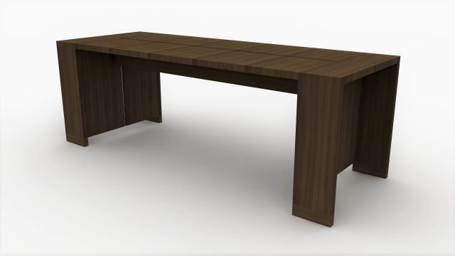 Preston | Community Table | Marron Walnut Veneer | Standing Height | Rendering
