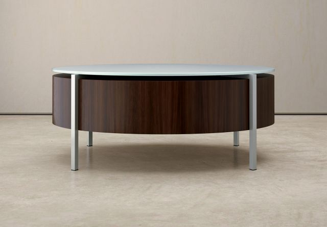 Stratum | Coffee Table | Foil Powdercoat Top and Base | Custom Veneer