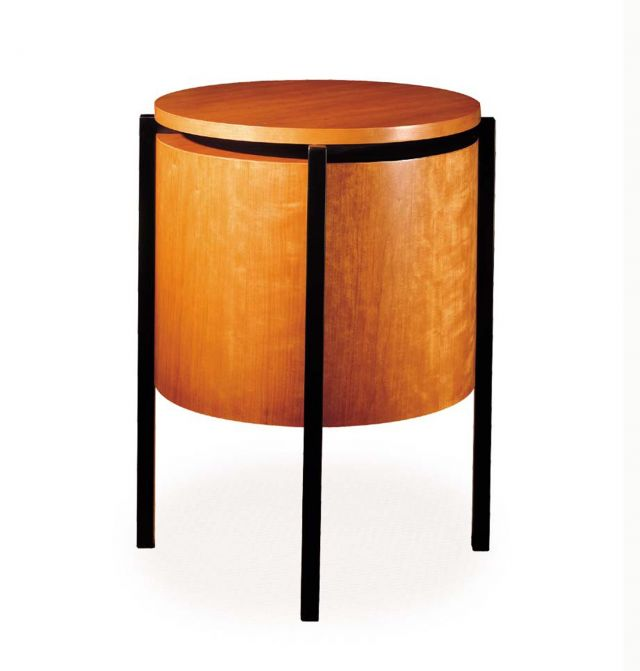 Stratum | Round End Table | Custom Veneer | A44 Black Powdercoat Base
