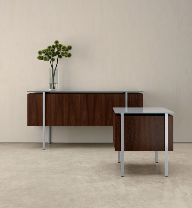 Stratum | Console and Square End Table | M26 Walnut Veneer Finish | Foil Powdercoat Base | Glass Top