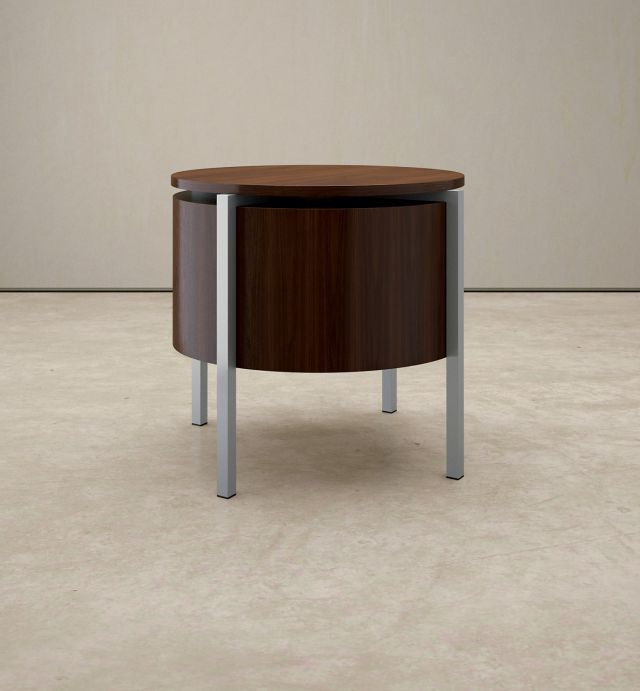 Stratum | Round End Table | M26 Walnut Veneer | Foil Powdercoat Base