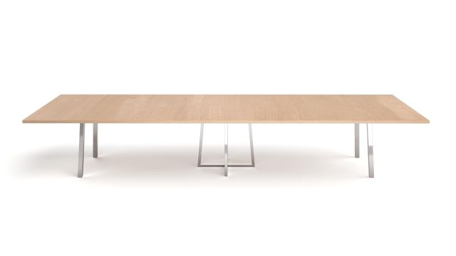 Two4Six Meeting | Meeting Table | Laminate Top | Polished Chrome Metal Post Legs and Open Frame Center Base