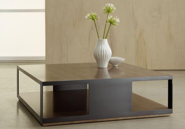 Talis | Coffee Table | Veneer Top | Blackend Nickel Base