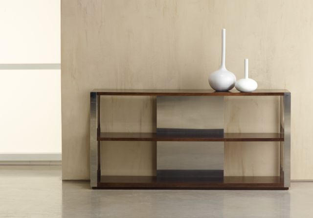 Talis | Console | M35 Marron Walnut Veneer | Brushed Stainless Metal