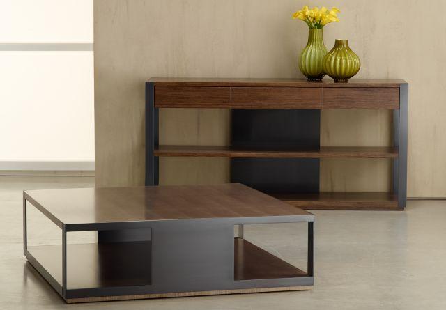 Talis | Console and Coffee Table  | G21 Cognac Veneer Blackened Nickel Metal