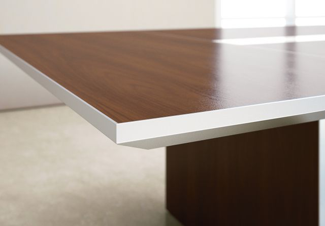 Tavola | Conference Table | G33 Mocha Walnut Veneer | Clear Anodized Metal | Edge Detail