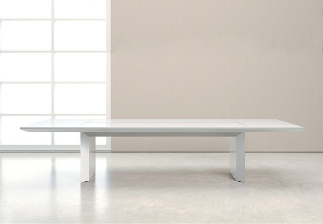 Tavola | Conference Table | White Glass Rectangle Top