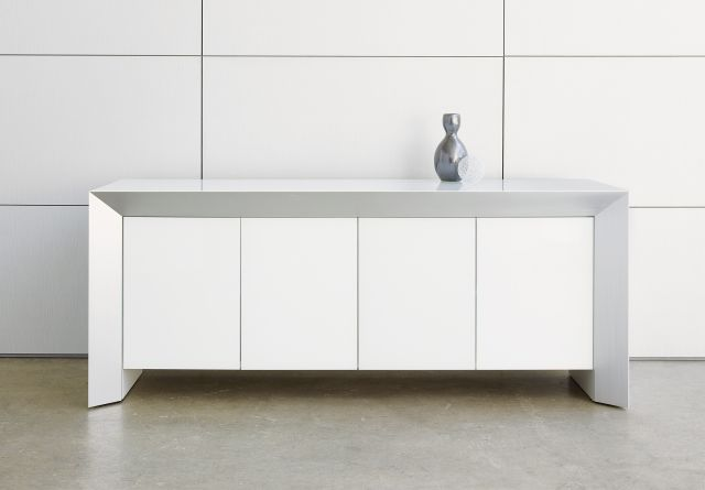 Tavola | Credenza | White Glass Door | With Vase