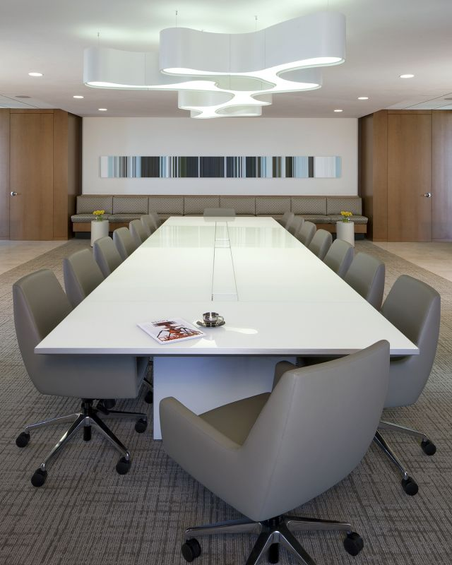 Tavola | Conference Table | Gloss White Glass Top | White Panel Base