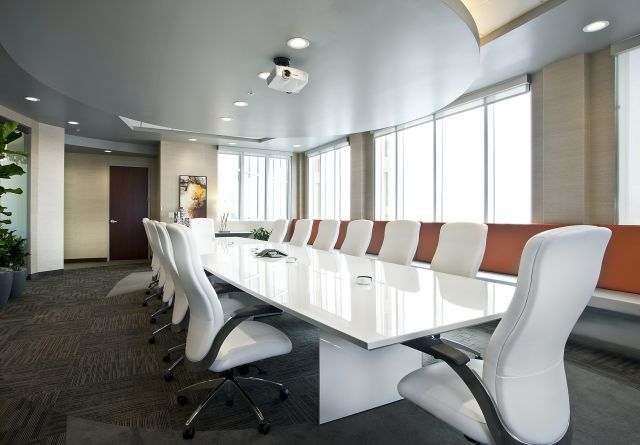 Tavola | Conference Table | Gloss White Glass Top | White Panel Base | White Chairs