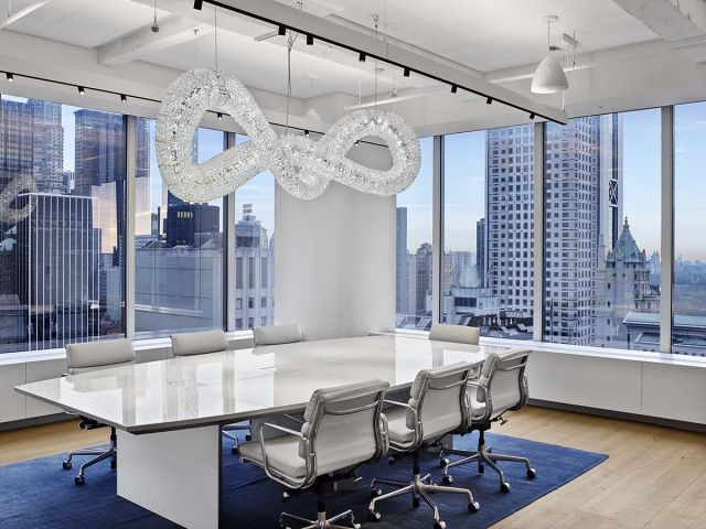 Tavola | Conference Table | White Glass Top | Swarovski Headquarters NYC